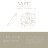 Musical instruments graphic template. French horn. Stock Photos