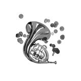 Musical instruments graphic template. French horn. Watercolor illustration Royalty Free Stock Image