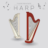 Musical instruments graphic template. Harp Stock Photography