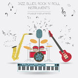 Musical instruments graphic template.Jazz, blues, rock`n`roll ba Stock Photos