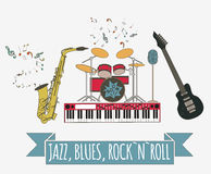 Musical instruments graphic template.Jazz, blues, rock`n`roll ba Stock Photography