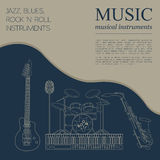 Musical instruments graphic template.Jazz, blues, rock`n`roll ba Stock Images