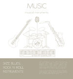 Musical instruments graphic template.Jazz, blues, rock`n`roll ba Royalty Free Stock Photo