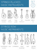 Musical instruments graphic template. Strings plucked and bow Stock Photo