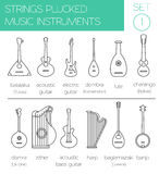 Musical instruments graphic template. Strings plucked Royalty Free Stock Images