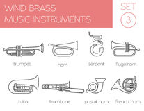 Musical instruments graphic template. Wind brass. Stock Photos