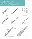 Musical instruments graphic template. Wind wooden. Stock Photography