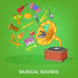 Musical instruments green concept, cartoon style Royalty Free Stock Photography