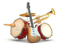 Musical instruments. Guitar, drums and trumpet. 3d vector illustration