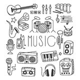 Musical Instruments in Handdrawn Style. Vector vector illustration