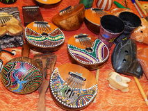 Musical instruments. Handicrafts. Oriental wooden musical instruments displayed at the exhibition of handicrafts in Moscow stock photos