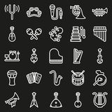 Musical instruments icon set on black background. Created For Mobile, Web, Decor, Print Products, Applications. Icon . Vector illustration Stock Images