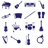 Musical instruments icon set eps10. Blue musical instruments icon set eps10 Royalty Free Illustration