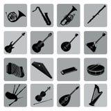 Musical instruments icon set. Folk, classical, jazz, ethnic, roc Stock Photo