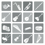 Musical instruments icon set. Folk, classical, jazz, ethnic, rock Stock Image
