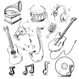 Musical instruments and icons collection Royalty Free Stock Photos