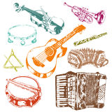 Musical instruments icons color set Stock Photos