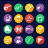 Musical Instruments Icons Flat Design Circle Royalty Free Stock Images