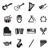 Musical Instruments Icons Stock Image