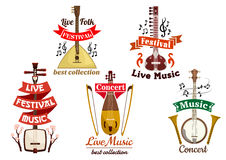 Musical instruments icons for music fest, concert Royalty Free Stock Images