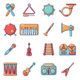 Musical instruments icons set, cartoon style. Musical instruments icons set. Cartoon illustration of 16 musical instruments vector icons for web Stock Photo