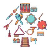 Musical instruments icons set, cartoon style. Musical instruments icons set. Cartoon illustration of 16 musical instruments vector icons for web Stock Photography