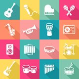 Musical Instruments Icons Set Stock Photography