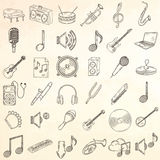 Musical instruments icons set. Stock Photo