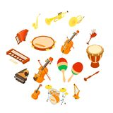 Musical instruments icons set, isometric style. Musical instruments icons set. Isometric illustration of 16 musical instruments vector icons for web Stock Photo