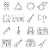 Musical instruments icons set, outline style. Musical instruments icons set. Outline illustration of 16 musical instruments vector icons for web Royalty Free Stock Photography