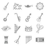 Musical instruments icons set in outline style Royalty Free Stock Images