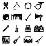 Musical instruments icons set, simple style. Musical instruments icons set. Simple illustration of 16 musical instruments vector icons for web Royalty Free Stock Photos
