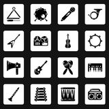 Musical instruments icons set, simple style. Musical instruments icons set. Simple illustration of 16 musical instruments vector icons for web Royalty Free Stock Images