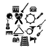 Musical instruments icons set, simple style. Musical instruments icons set. Simple illustration of 16 musical instruments vector icons for web Stock Photos