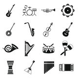 Musical instruments icons set , simple style Royalty Free Stock Images