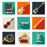 Musical instruments icons Stock Images