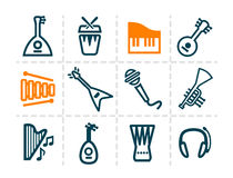 Musical instruments icons. Vector minimalistic line music and audio icons set Stock Illustration