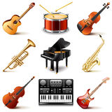 Musical instruments icons vector set. Musical instruments icons photo realistic vector set Stock Photography