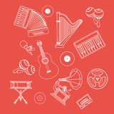 Musical Instruments Icons White Outline Royalty Free Stock Photography