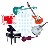 Musical instruments. An illustration of various musical instruments on a circle Royalty Free Stock Photography