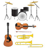 Musical instruments illustrations. Various musical instruments illustrations vector illustration