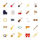 Musical Instruments Isolated Flat Design Vector Icons Collection Stock Images
