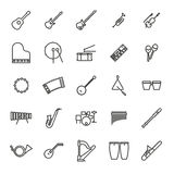 Musical Instruments Line Icon Vector Set. Collection of 25 black musical instruments line icons Stock Photography