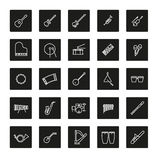 Musical Instruments Line Icon Vector Set. Collection of 25 musical instruments line icons in black squares Stock Photos