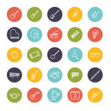 Musical Instruments Line Icon Vector Set. Collection of 25 musical instruments line icons in colored circles Royalty Free Stock Images
