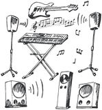Musical instruments and loudspeakers doodles Royalty Free Stock Photos