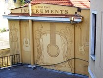 Musical Instruments Makers Sign, Prague. Royalty Free Stock Images