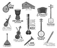 Musical instruments for music concert vector icons Stock Images