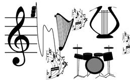 Musical instruments. A musical volcano, a fountain, a waterfall in the performance of various musical Stock Image