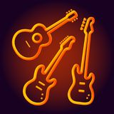 Musical instruments neon tubed silhouette abstract design concept rock band performance  electric. Guitar set Royalty Free Stock Image